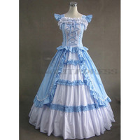 Discount Sleeveless Bandage Ruffles Blue and White Gothic Victorian Dress [TQL120427096] - £64.59 :