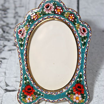 Vintage Micromosaic frame // mosaic frame // Unique Frame //  Beautiful colors and detial