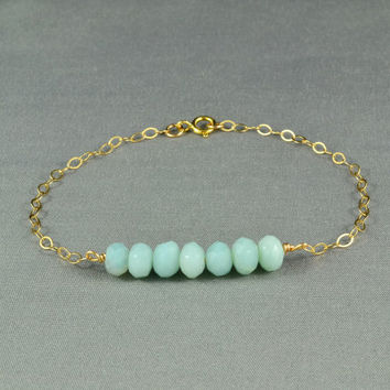 Beautiful Amazonite Beaded Bracelet 14K Gold filled chain by WonderfulJewelry