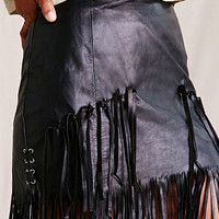 American Vintage Tiered Fringe Leather Skirt - Urban Outfitters