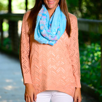 Chevron Illusion Sweater, Peach