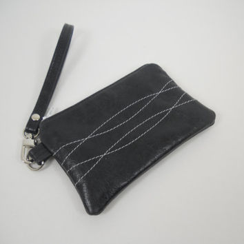 Leather Wristlet, Small Leather Wristlet, Leather iPhone Wallet, Wristlet Wallet, Black Leather with White Stitching Detail, Ready to Ship