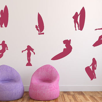 Surfer Girl Silhouettes Variety Set of 8 Vinyl Wall Decals 22434