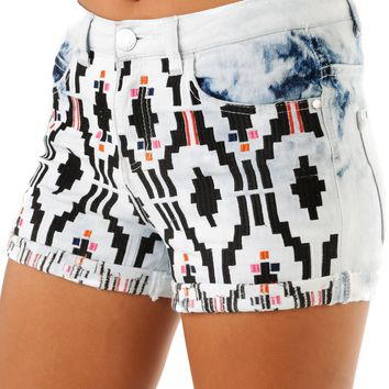 Shaped To Last Shorts: Denim/Multi