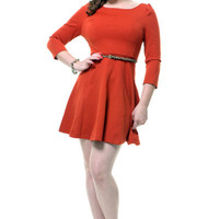Burnt Orange 3/4 Sleeve Penelope Day Dress - Unique Vintage - Homecoming Dresses, Pinup & Prom Dresses.