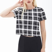 FOREVER 21 Plaid Scuba Knit Top Black/White