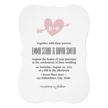 Simple Pink Heart & Arrow Love Wedding Invitations