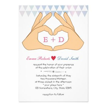Simple Hand Heart Tri-Pattern Wedding Invitations