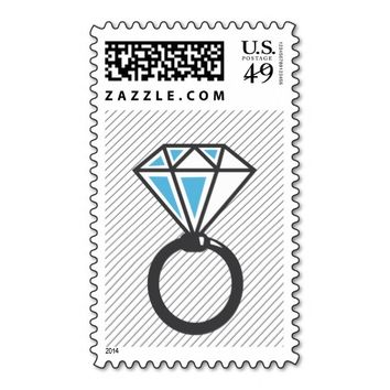 Simple Diamond Ring Wedding Stamps