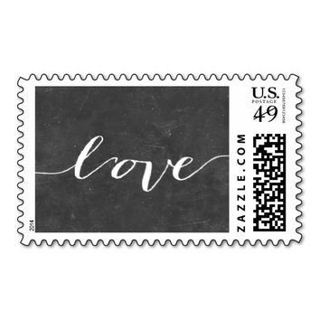 "Script ""Love"" Chalkboard Wedding Stamps"
