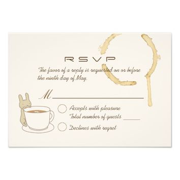 Cute Rabbit and Coffee Wedding RSVP Card