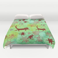levitating kitties Duvet Cover by Marianna Tankelevich | Society6