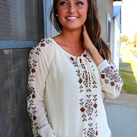 Embroidered Aztec Blouse