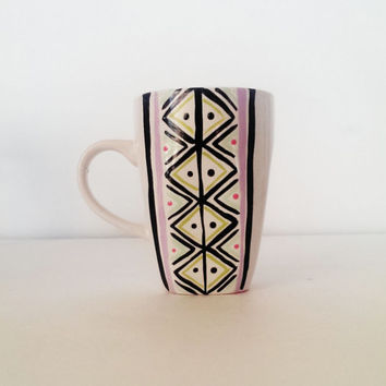 aztec print coffee mug - hand painted