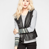 Others Follow Undercover Womens Hooded Faux Leather Jacket Black  In Sizes
