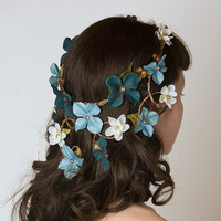 Wedding Crown w/ Cascading Veil of Turquoise &amp; Aqua Flowers