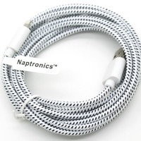 Naptronics - 10 Ft' (Extra Long) Durable Braided 8 Pin to USB Charger Data Sync Cable Cord Compatible iPhone 5 Touch 5th Nano 7th Gen, iPad Mini White