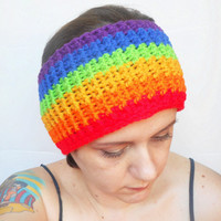 Crochet Rainbow Headband Ear Warmer, ready to ship.