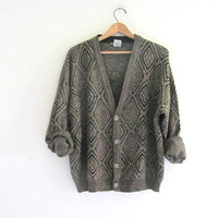 Vintage 1980s abstract borwn and black Button Up Oversized Sweater Cardigan // bill cosby