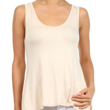 In Style Hi/Lo Solid Ivory Tank Top