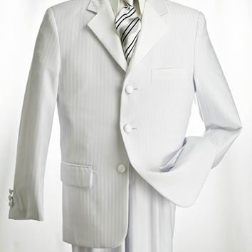 White Tuxedo with Tone on Tone Shadow Stripe from Vittorio St. Angelo