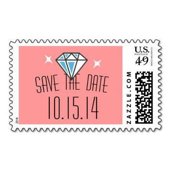Simpe Diamond Stone Save The Date Wedding Stamps