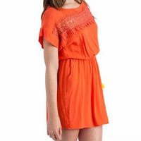 spanish lace inset dress $38.60 in TANGERINE - Casual | GoJane.com