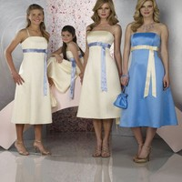 Satin Sash Solid Knee Length Bridesmaid Dress