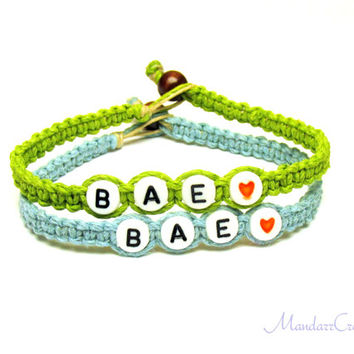 Couples or Friendship Bracelets, BAE, Before Anyone Else, Lime Green and Light Blue Hemp Jewelry