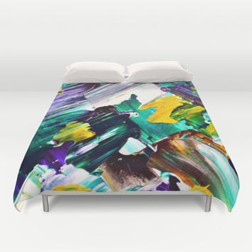Green Intersections Duvet Cover by Claudia McBain