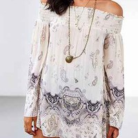 Band Of Gypsies Boho Print Off-The-Shoulder Tunic - Urban Outfitters
