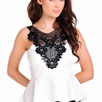 Laura Contrast Crochet Peplum Top