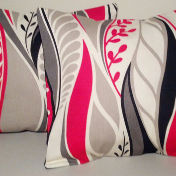 2 Handmade Pillow Covers  Modern Abstract Print  READY TO