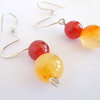 Orange carnelian earrings with fire agate, sterling silver, gift under 40