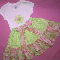 Girls back to school outfit , toddler skirt and shirt outfit , girls green and pink outfit , girls twirl skirt , back to school , size 3-4