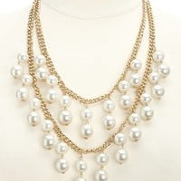 Dangling Layered Pearl Bib Necklace