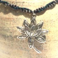 Lotus Jewelry, Lotus Flower Pendant, Double Strand Necklace, Big and Bold Tibetan Silver Lotus Charm, Silver Tone Necklace