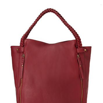 Zippered Faux Leather Tote