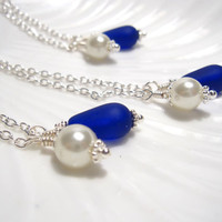 Royal Blue Sea glass Bridesmaids necklace : The 'Something Blue'