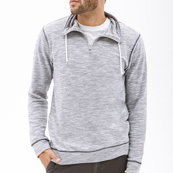 Marled Funnel-Neck Pullover