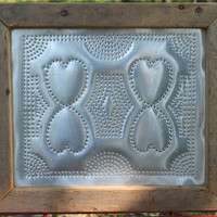 Rustic Punched Tin Wall Hanging  Primitive Heart by SeventhChild