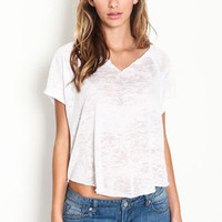 Ripped V Neck Tee - LoveCulture