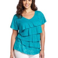 AGB Women's Solid Back Crochet Top With Ruffle Tiers and Flutter Sleeves