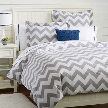 Chevron Duvet Cover  Sham Light Gray