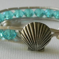 Seashell bracelet Aquamarine Czech Glass by Jennasjewelrydesign