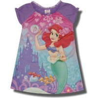 "Disney Princess, Ariel ""Hearts & Bubbles "" nightgown in Purple for toddler girls"