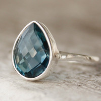 London Blue Topaz Ring Sterling Silver Teardrop by OhKuol