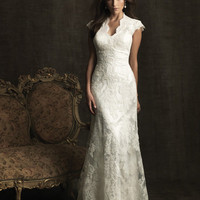 White Charmeuse &amp; Lace Cap Sleeve Fitted Wedding Gown - Unique Vintage - Homecoming Dresses, Pinup &amp; Prom Dresses.