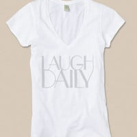 Laugh Daily Inspiration Vneck Cotton Tshirt by ShopRIC on Etsy