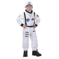 Jr. Astronaut Suit with Embroidered Cap Costume in White